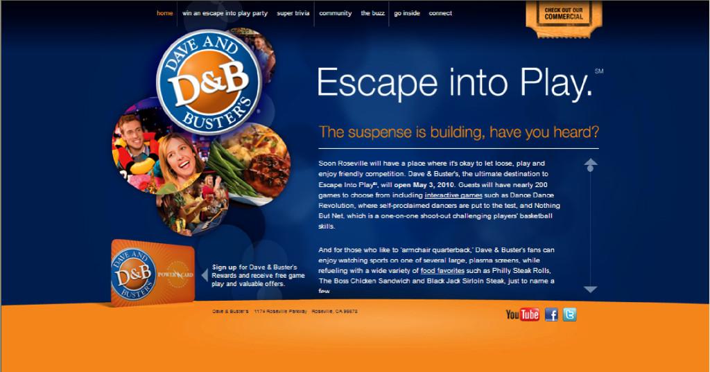 Dave and Buster's website design, website programming