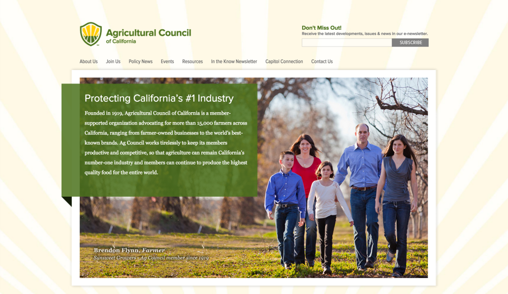 Agricultural Council of California website design, website programming