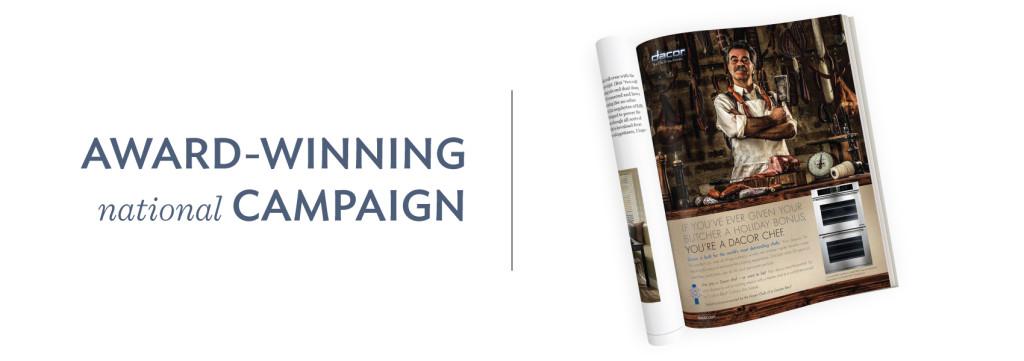 Dacor advertising, media buying, custom photography