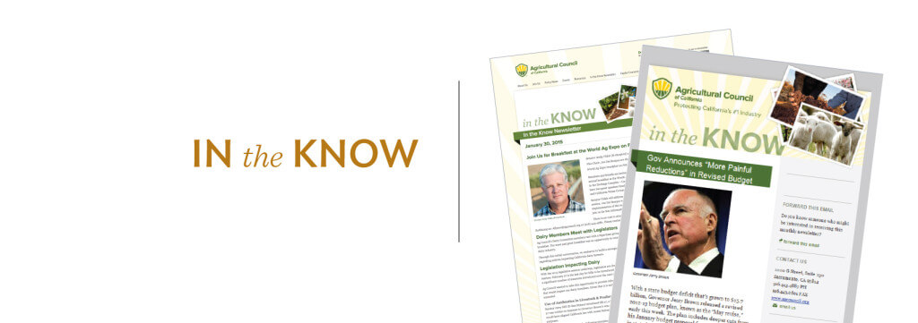 Agricultural Council of California HTML email, enewsletter, graphic design, custom HTML