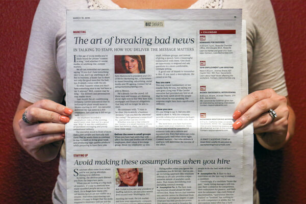 The art of breaking bad news Sacramento Business Journal article