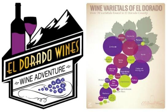 El Dorado Wines Logo and Varietals map